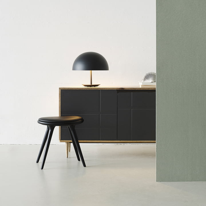 Stool by Mater made from black stained beech with Dome Table Lamp in black