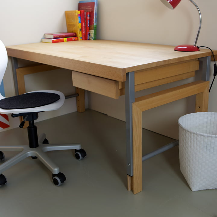 Height-adjustable desk with drawer