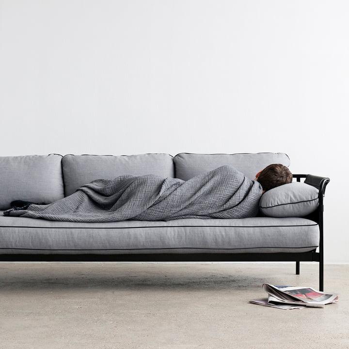 Hay - Can Sofa, 3-Seater, black / canvas black / canvas grey