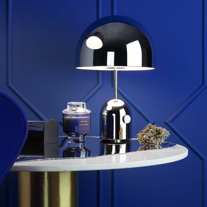 Bell table lamp with Scent scented candle by Tom Dixon
