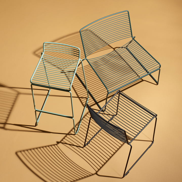 The Hay - Hee Dining Chair, black, the Lounge Chair, green and the Bar Stool, army