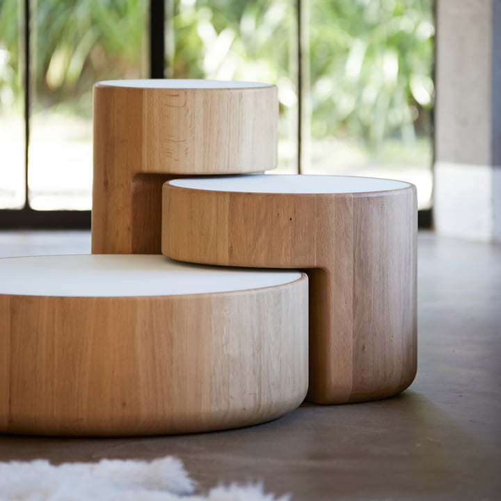The Levels Nesting Tables, set of 3 in oiled oak / white by Peruse