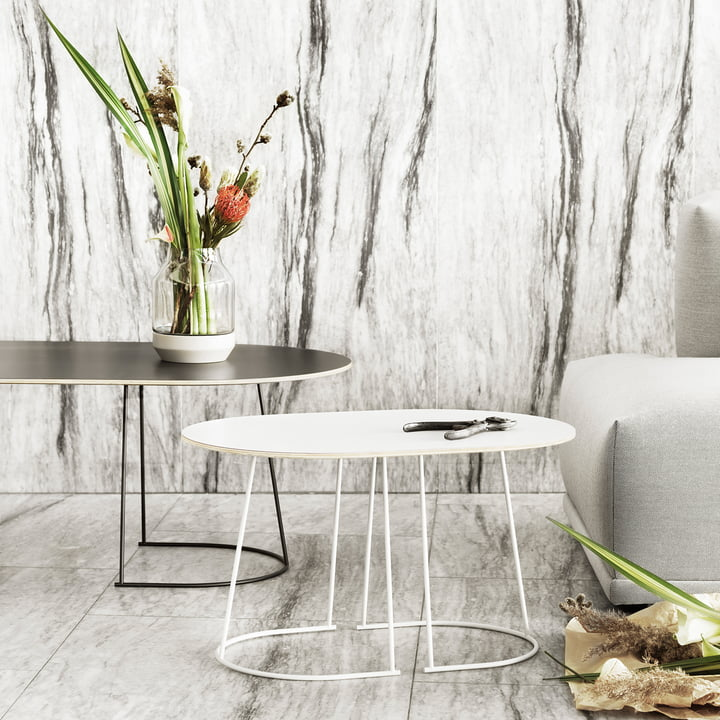 The Airy coffee table, small, white and big, black by Muuto