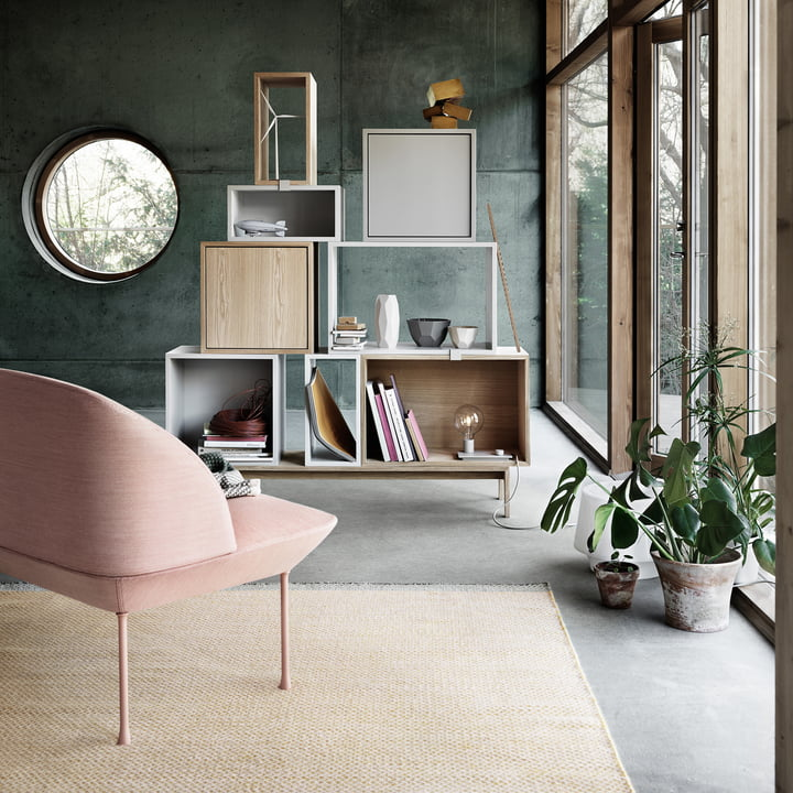 The Stacked shelf, the Ply rug and the Oslo sofa by Muuto