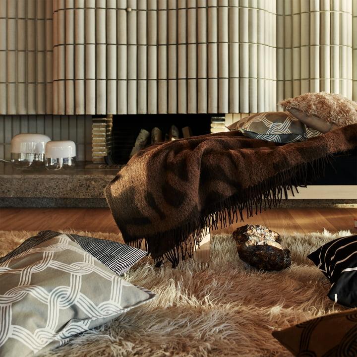 Marimekko - Joonas blanket, brown / dark brown - Sulhasmies pillowcase, grey white / beige