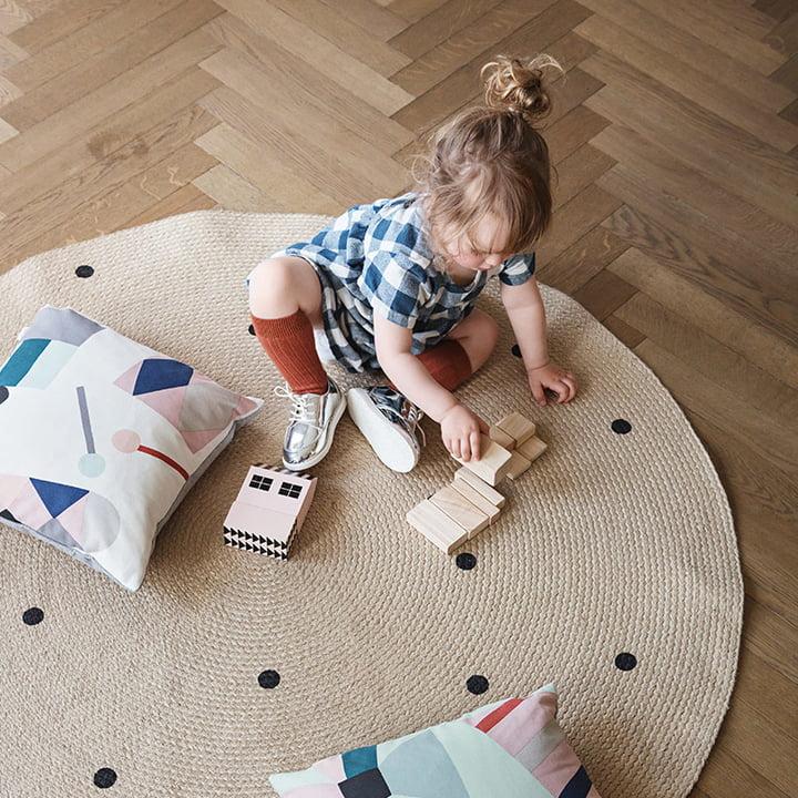 ferm living - jute carpet dots