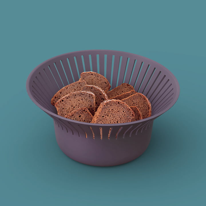 Ruff Bread Basket from Ommo in Aubergine