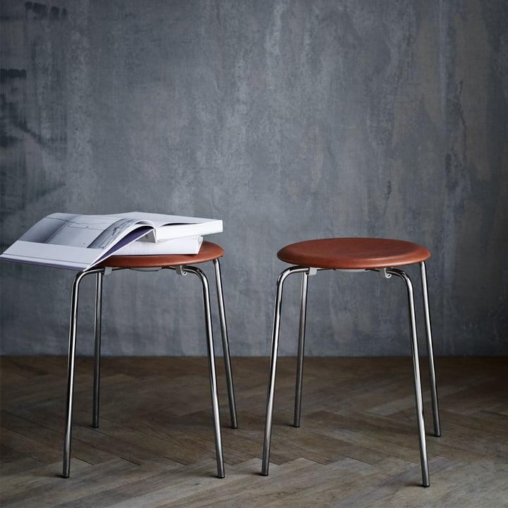Fritz Hansen - Dot Stool, leather / chrome