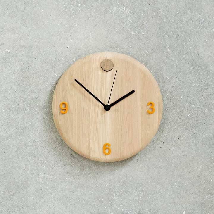 Wood Time Clock by Andersen Furniture with Orange Numbers