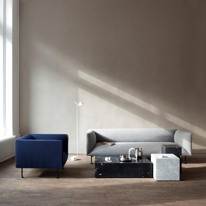 Plinth coffee table and Plinth side table by Menu