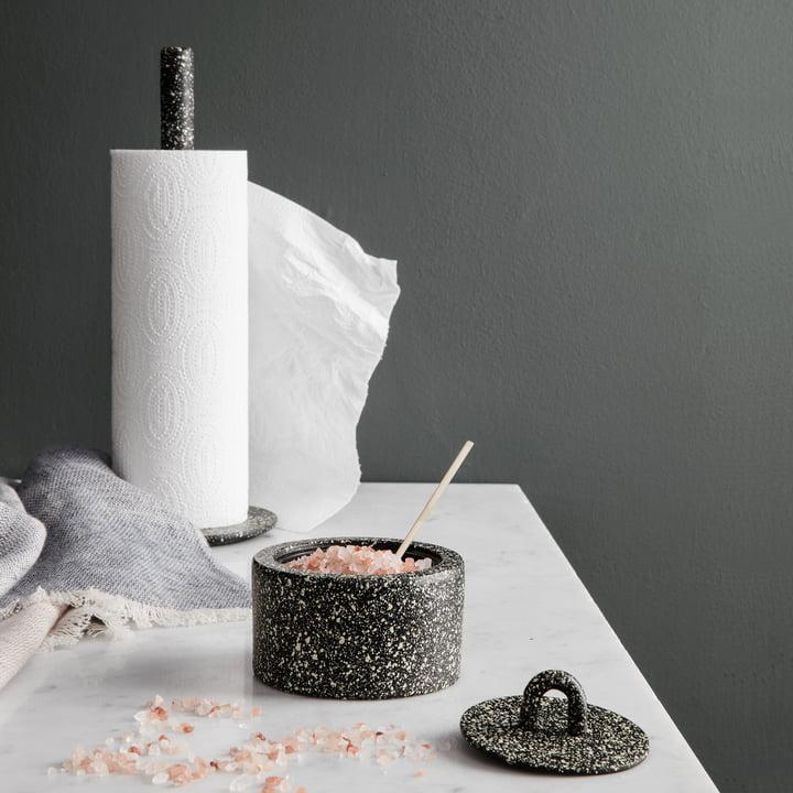 Blend Tea Towel, Buckle Jar and Kitchen Roll Holder by Ferm Living