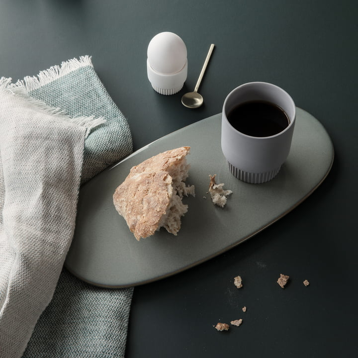 Dishcloth and Groove egg cup by ferm living