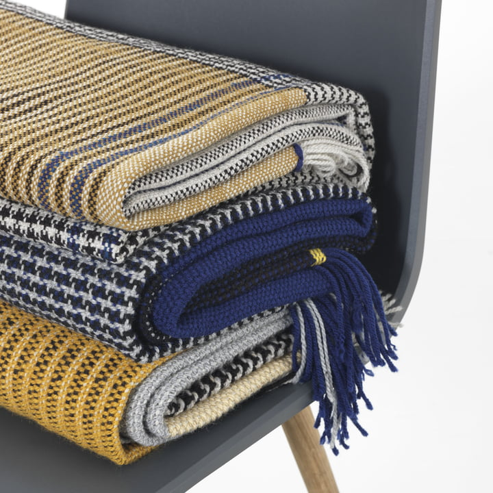 Ruana blanket in yellow and blue