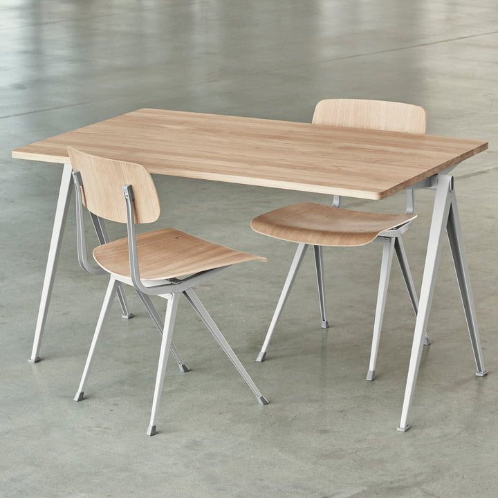 Pyramid Desk and Result Chairs by Hay