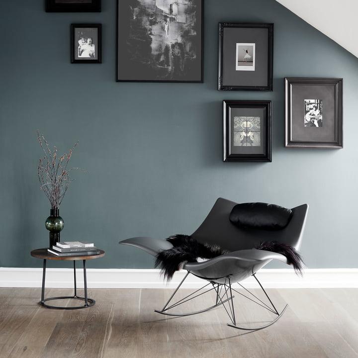 The Fredericia - Stingray Rocking Chair in Matt Dark Grey / Flint