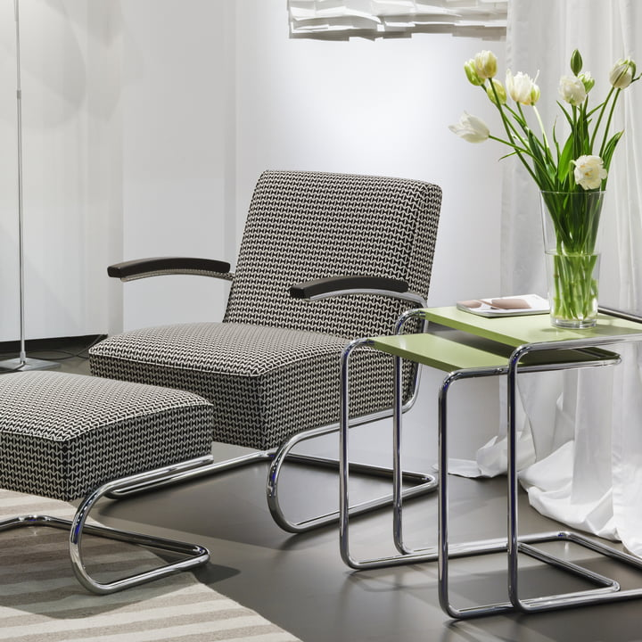 S 411 Chair and Footstool with B 97 Table by Thonet.