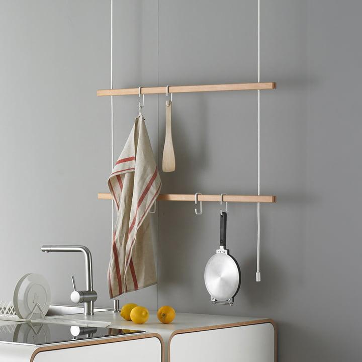 Stadtnomaden - Feiner Strick Clothes Rail in Beech in the Kitchen