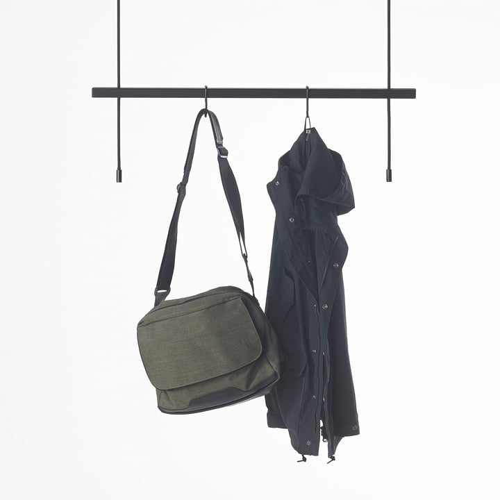 Stadtnomaden - Feiner Strick Clothes Rail in Black with Jackets and Bags
