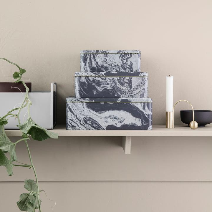 ferm Living - Marble Storage Box (Set of 3)