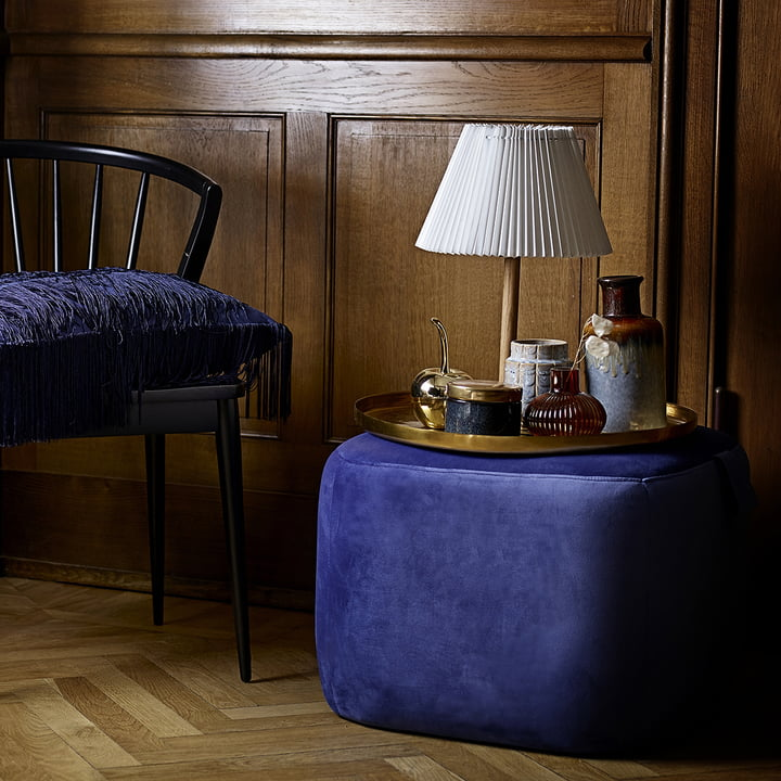 The Bloomingville - Storage Jar Ø 11 x H8 cm in Blue / Gold with the Decorative Cherry in Gold.