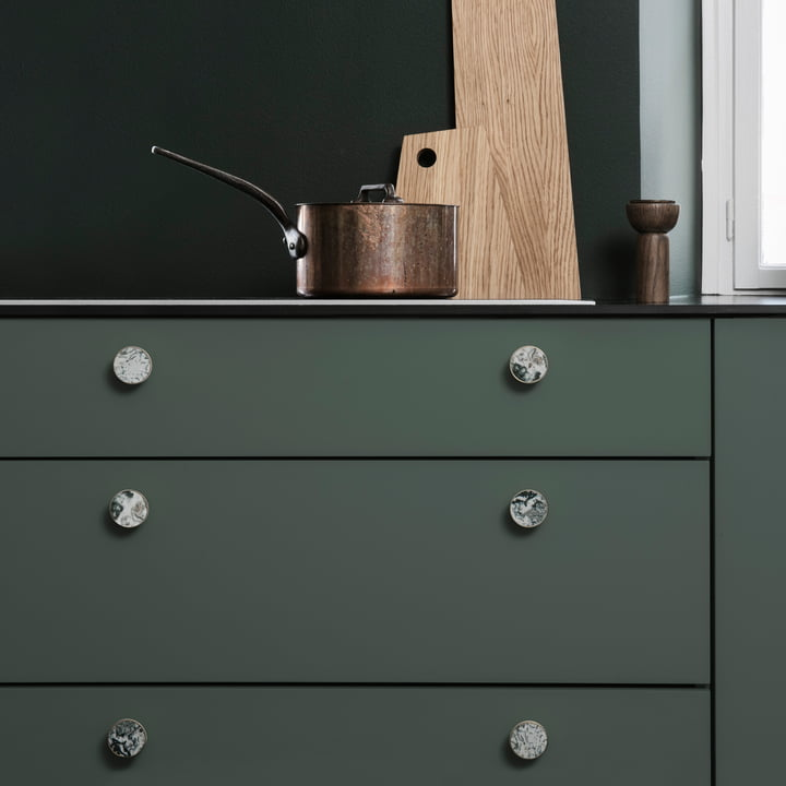 The ferm Living - Wall Hooks in Stone, Brass / Moss Agate as a Knob