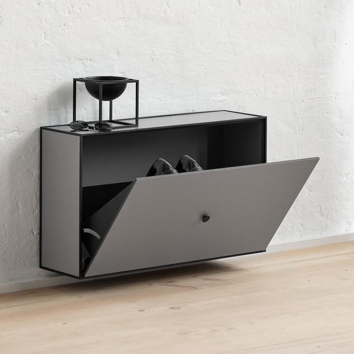 Frame Shoe Cabinet from by Lassen in Dark Grey