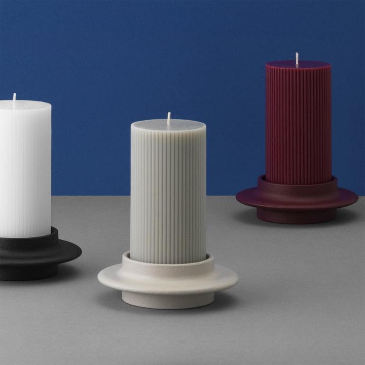 The Normann Copenhagen Heima pillar candleholder in black / light grey / dark red