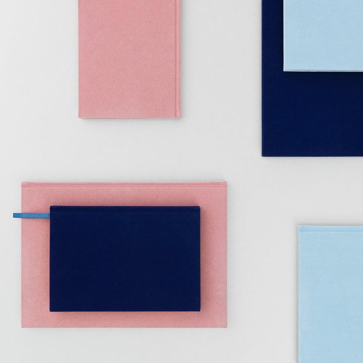 Normann Copenhagen - Notebook Velour in Blush / Powder Blue / Ink Blue