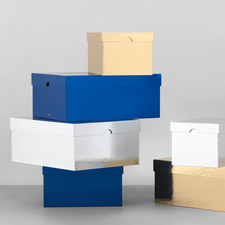 Normann Copenhagen - Metallic Boxes in Gold / Silver / Blue