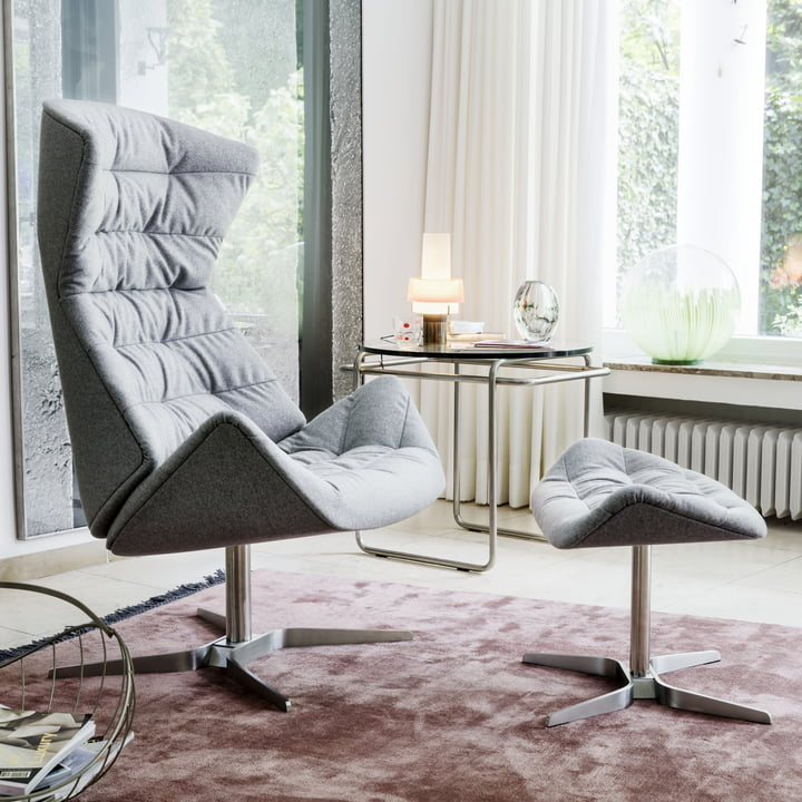 Thonet - 808 Lounge Chair, stainless steel frame / grey Bergen fabric (905 leather) + free 808 stool