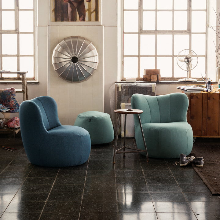 173 Armchair by Freistil in Blue and Pastel Turquoise