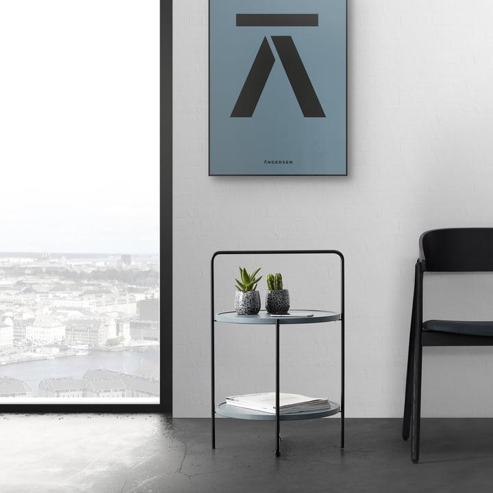 The Andersen Furniture - Coffee Table Ø 46 cm, Black / Petroleum