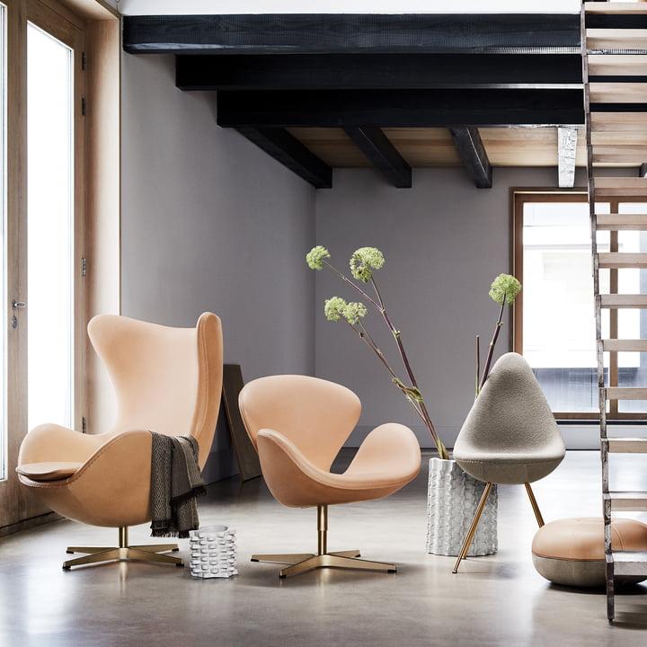 The Fritz Hansen Anniversary Series - Throw, Swan Chair, Egg Chair and Drop Chair.