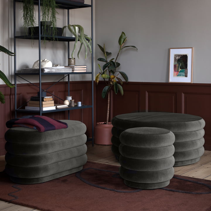 Pouf Velour by ferm Living in Grey