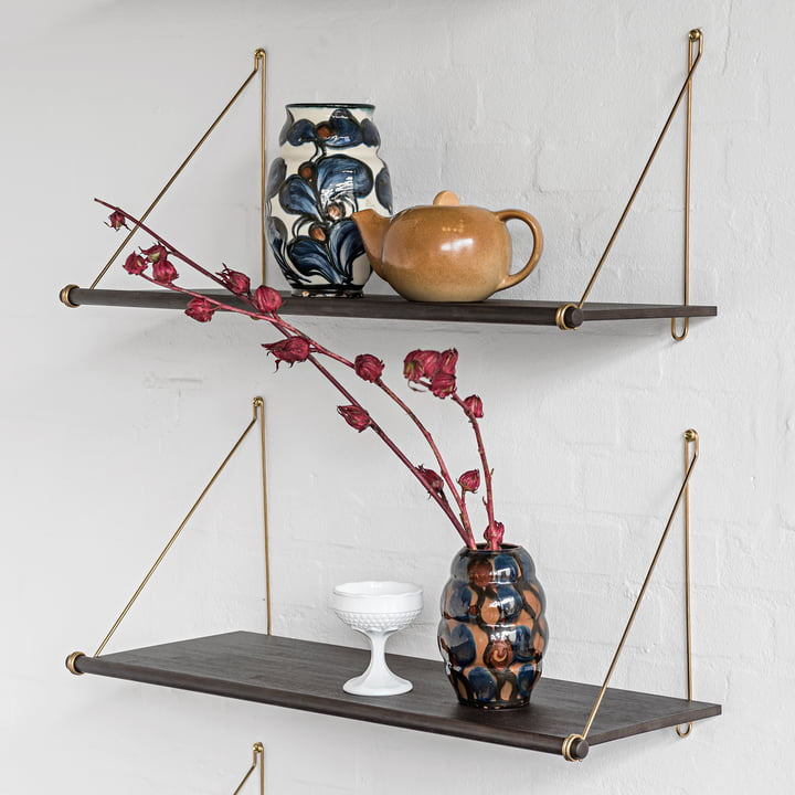 Loop Shelf by We Do Wood in Dark Bamboo / Brass