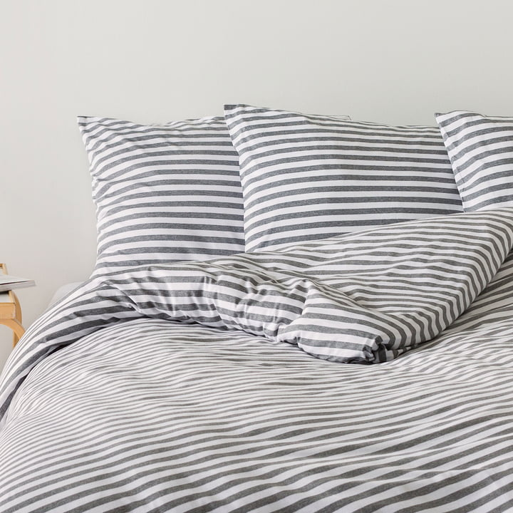 Tasaraita Pillowcase 80 x 80 cm by Marimekko in Grey / White