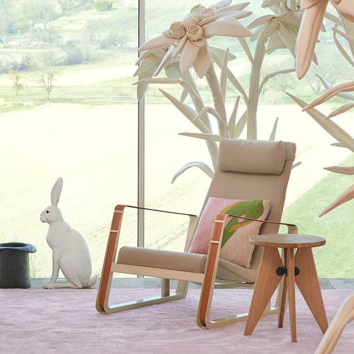 Vitra - Cité Armchair, Beige Upholstery (Cité 01), Ecru Base / Cognac Leather Straps