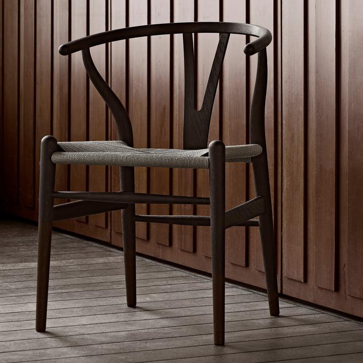 The Carl Hansen - CH24 Wishbone Chair, Dark Oak / Natural Wicker