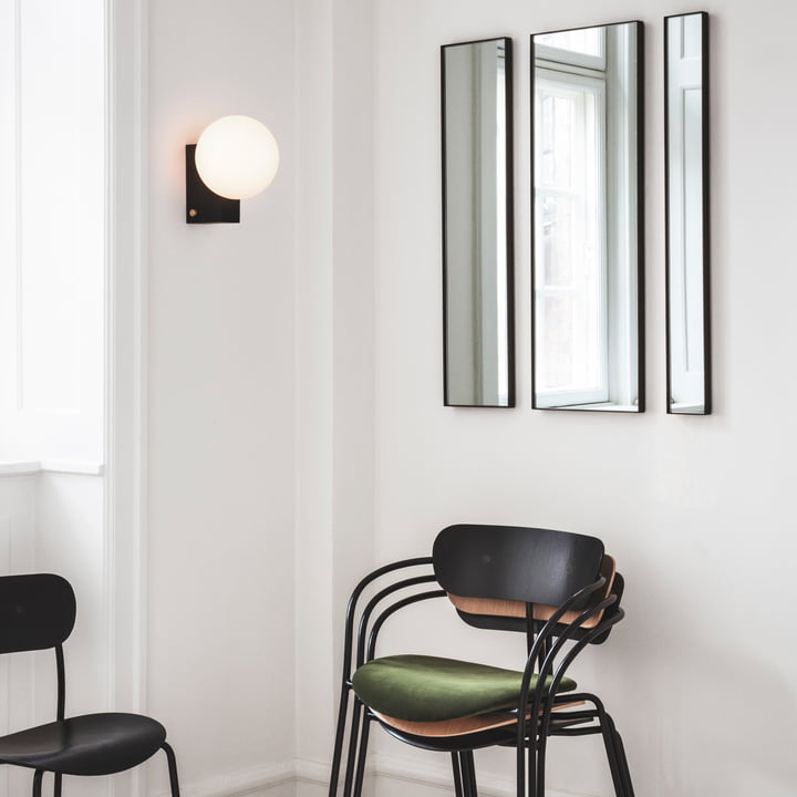 Amore Wall Mirror, Journey table and Wall Lamp, Pavilion Armchair and Pavilion Chair by &Tradition
