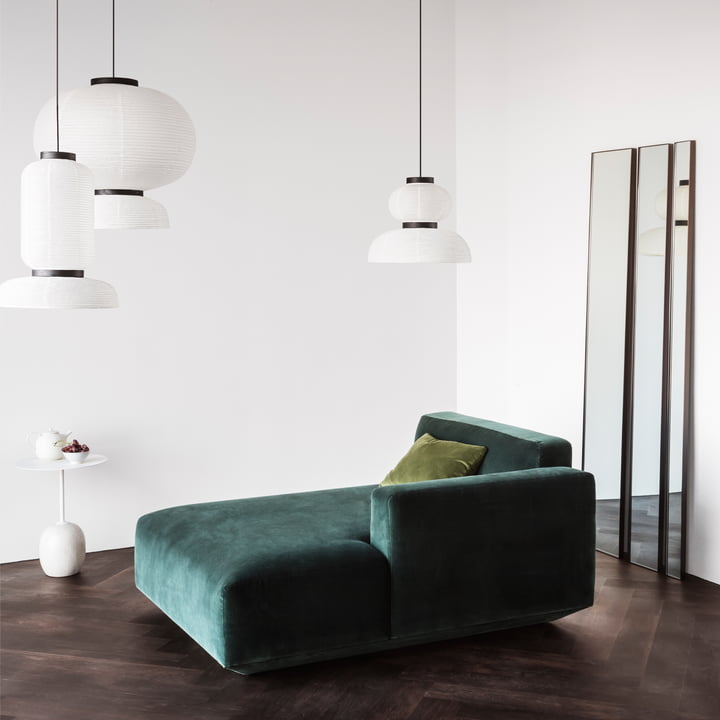 Lato Side Table, Formakami Pendant Lamps, Develius Sofa, and Amore Wall Mirror by &Tradition