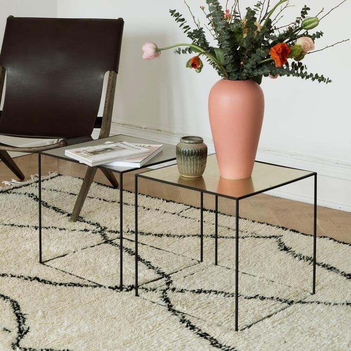 by lassen - Twin 35 Side Table, Black Frame, Brass / Misty Green