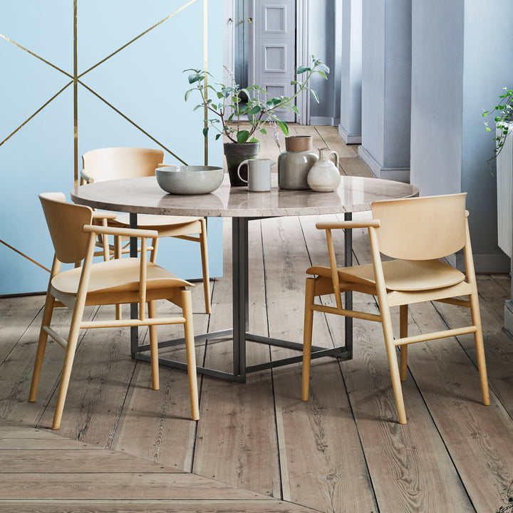 The Fritz Hansen - N01 Armchair in Beech at the Dining Table