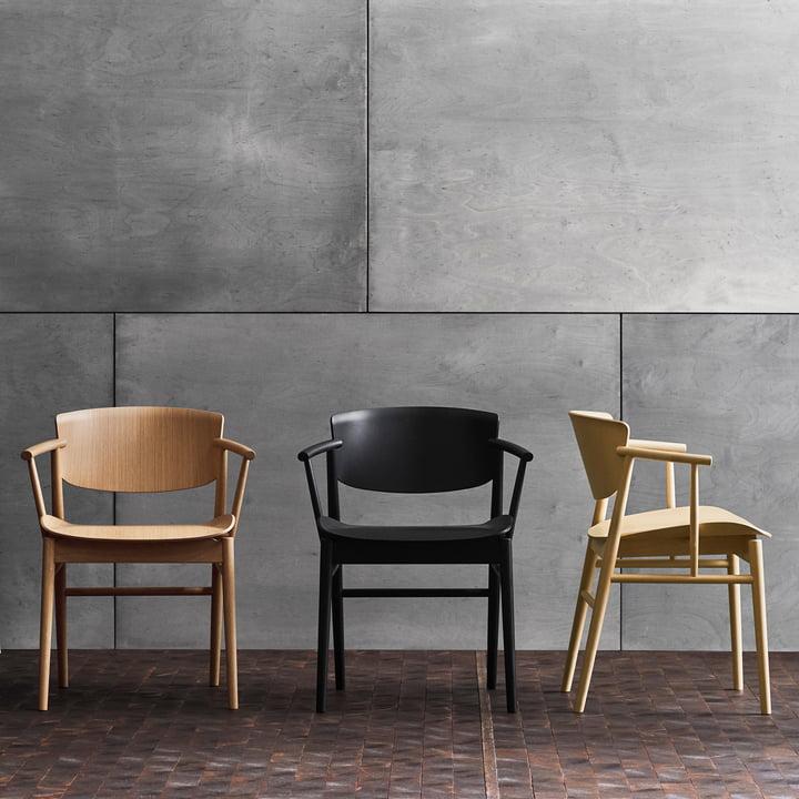 Fritz Hansen - N01 Armchair, oak / black coloured oak / beech