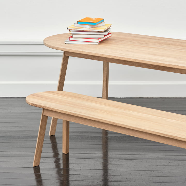 Triangle Leg Dining Table and Bench by Hay