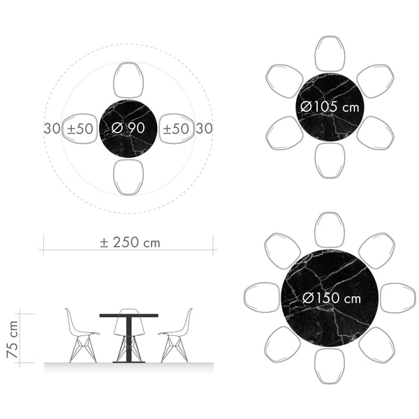 Dining tables graphic 3 - round table diameter