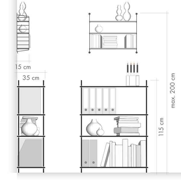 Depth of shelves / wall mounting