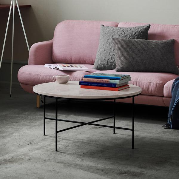 Planner coffee table by Fritz Hansen - Ø 60 x H 40 cm, cream marble top