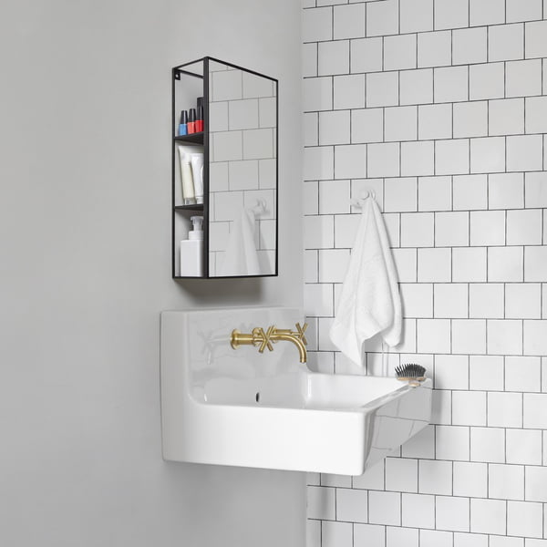 Cubiko mirror shelf in black from Umbra in the bathroom